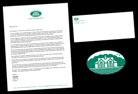 Friends of Nahanton Park Letterhead, Envelope and Logo