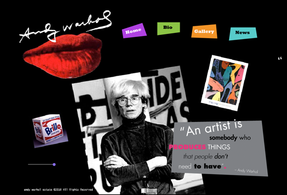 Andy Warhol Website Concept