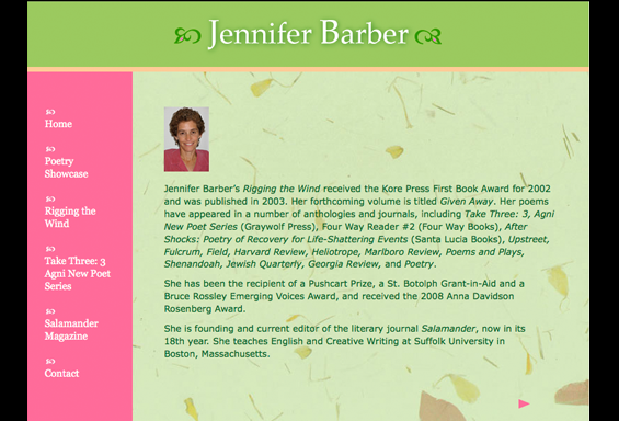 Jennifer Barber Poet Website