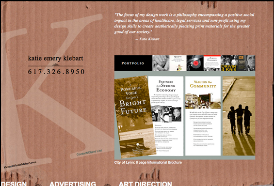 Katie Klebart Graphic Designer Website Concept