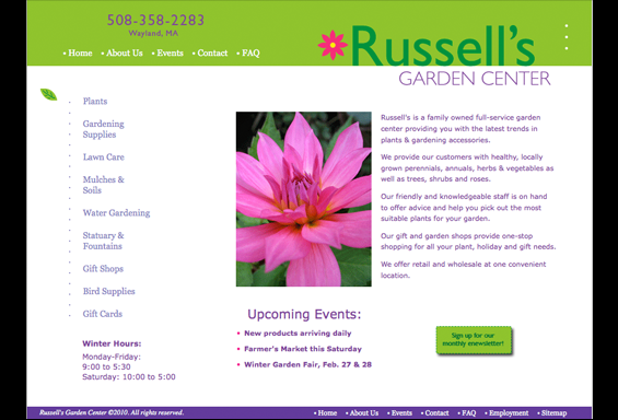 Russells Garden Center Website Concept